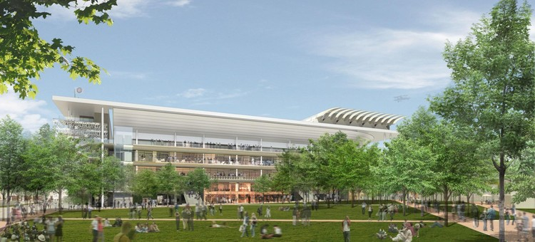 Watch the Construction of Roland Garros' New Tennis Stadiums in These Animations, Court Philippe Chatrier. Image © FFT / Architects: ACD Girardet and Associates / Daniel Vaniche and Associates / Perspective: 3dfabrique