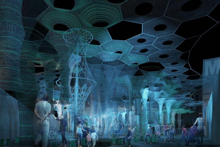Jenny Sabin Studio Selected as Winner of the MoMA PS1 2017 Young Architects Program , Jenny Sabin Studio. Lumen. 2017 (rendering). Winner of the Young Architects Program 2017, MoMA PS1, New York. Image Courtesy of Jenny Sabin Studio