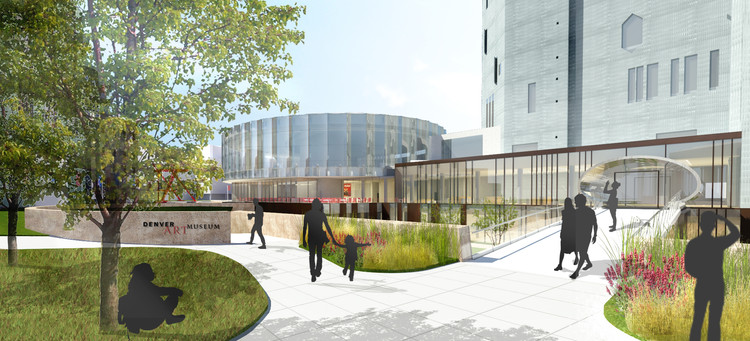 Proposed architectural rendering of view of the North Building from 14th Ave. Image Courtesy of Fentress Architects and Machado Silvetti