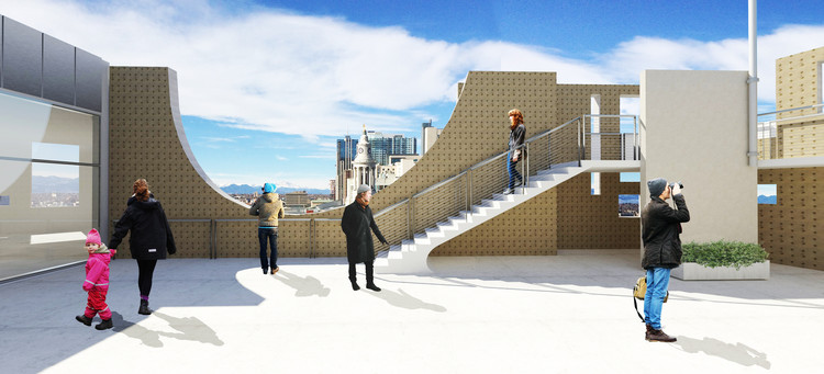 Proposed architectural rendering of terrace on Level 7 of the North Building. Image Courtesy of Fentress Architects and Machado Silvetti