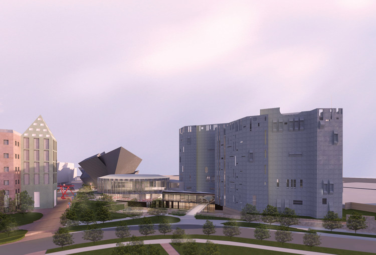 Denver Art Museum Receives $12 Million to Revitalize Ponti North Building, Proposed architectural rendering of an aerial view of the North Building at dusk. Image Courtesy of Fentress Architects and Machado Silvetti