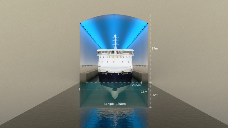 The illustration shows a cross section of the ship tunnel as planned with the relevant measurements.. Image © Norwegian Coastal Administration/Appex