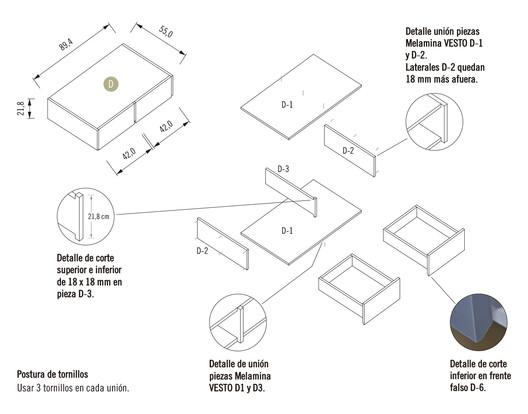 Módulo 2 / Mueble Inferior con Cajones