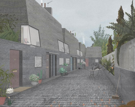"Perspective based on the urban typology of a ""Mews"". Image Courtesy of OMMX"