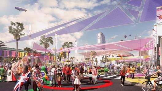 Downtown Sports Park - Figueroa Corridor. Image Courtesy of LA 2024