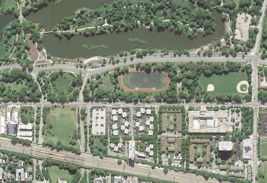 Aerial Shot of the Existing Site. Image Courtesy of Obama Foundation
