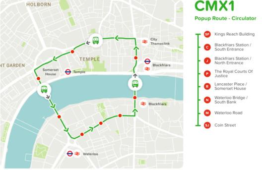 The CMXI bus route. Image Courtesy of Citymapper