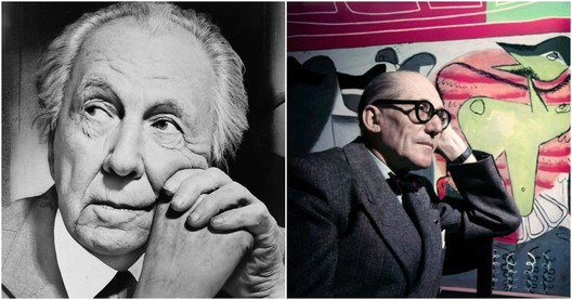 Left: Frank Lloyd Wright photographed by Al Ravenna. Image <a href='https://commons.wikimedia.org/wiki/File:Frank_Lloyd_Wright_portrait.jpg'>via Wikimedia</a> in Public Domain. Right: Le Corbusier. Image © Willy Rizzo