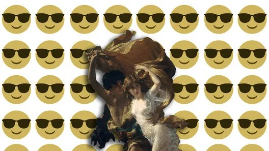 "Collage: ""The Storm"" by Pierre-Auguste (87.15.134). The Metropolitan Museum of Art, 2000-. [1] (January, 2007), under public domain + Emoji One [Wikipedia], under license CC BY-SA 4.0. Image © Nicolás Valencia"