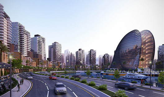 A rendering of Eko-Atlantic City, Lagos, Nigeria. Image <a href='http://www.ekoatlantic.com/media/image-gallery/'>via ekoatlantic.com</a>