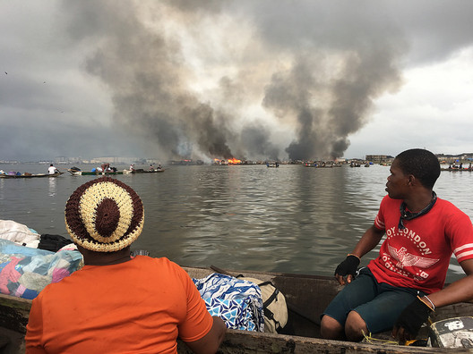 The forced eviction of Otodo-Gbame by the Legos state government. Image Courtesy of Justice & Empowerment Initiatives via Common Edge