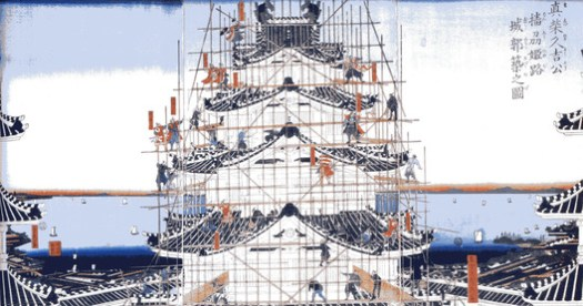A period image depicts the labor needed to construct Ikeda Terumasa's grand new Himeji Castle. ImageCourtesy of Wikimedia user ブレイズマン (Public Domain)