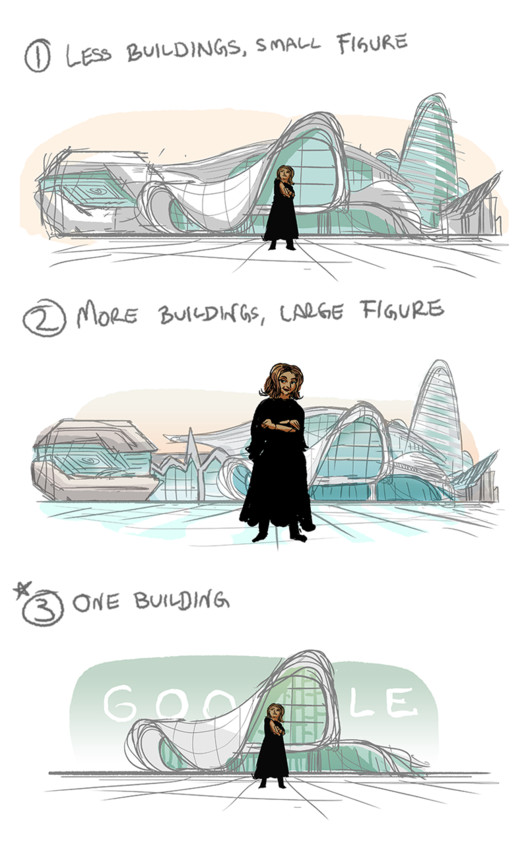 Early concepts of the doodle. Image via Google Doodles