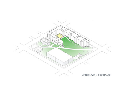 Lifted Lawn + Courtyard Axonometric