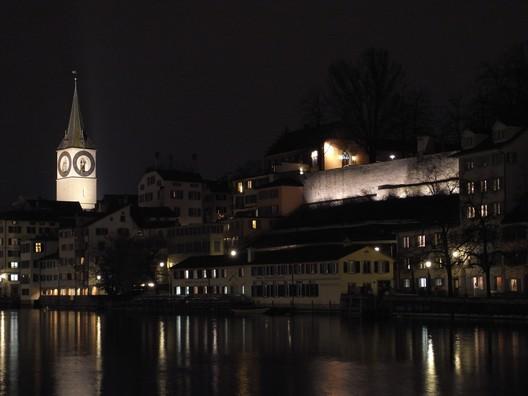 Illumination of Lindenhof wall, Zürich. Photo by Juliet Haller. Image © Stadt Zürich