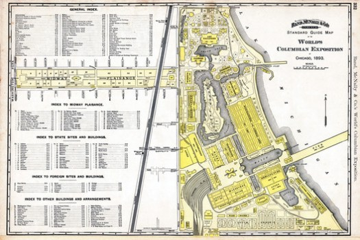 A map of the 1893 Exposition shows how much of the fair's buildings were laid out on axis with the court of honor. ImageCourtesy of Wikimedia user scewing (Public Domain)