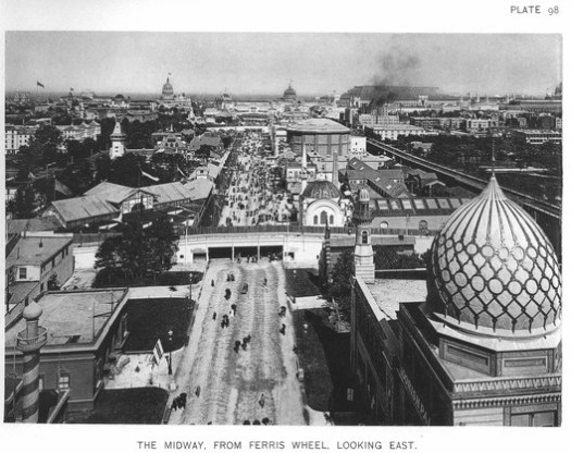 The Midway was a collection of various themed environments and funhouses which entertained visitors while simultaneously persuading them to spend more money on the fair. ImageCourtesy of Wikimedia user RillkeBot (Public Domain)