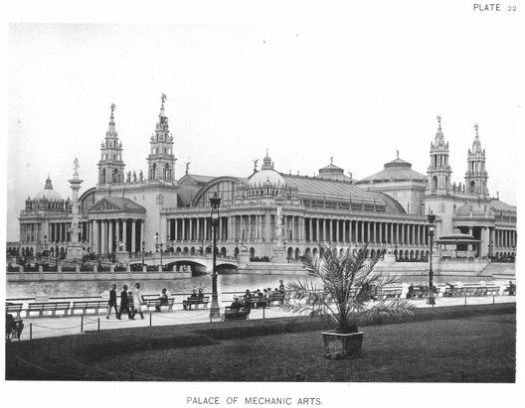 """The Machinery Hall, or """"Palace of Mechanic Arts,"""" displayed American industrial products and served as the White City's power plant. ImageCourtesy of Wikimedia user RillkeBot (Public Domain)"""