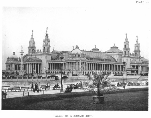 "The Machinery Hall, or ""Palace of Mechanic Arts,"" displayed American industrial products and served as the White City's power plant. ImageCourtesy of Wikimedia user RillkeBot (Public Domain)"