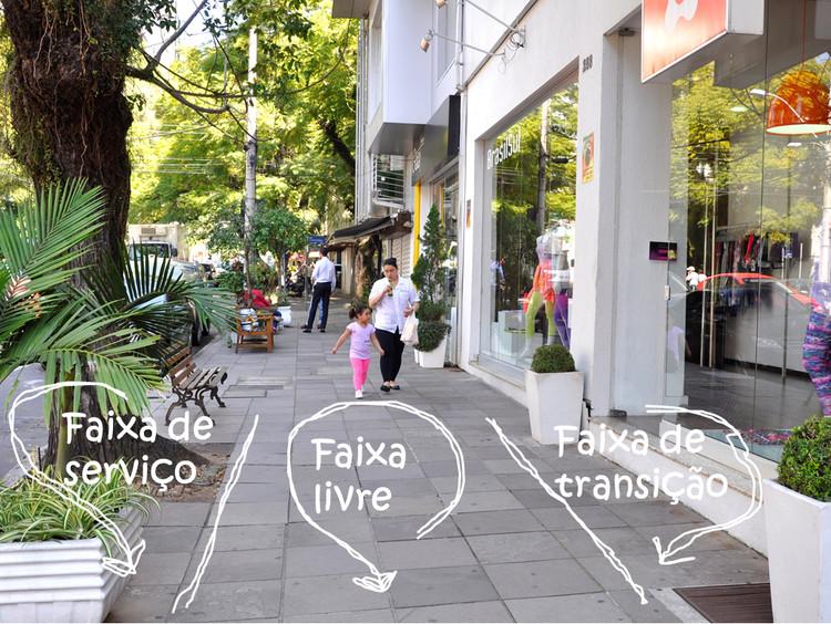 As três faixas de uma calçada bem dimensionada. Foto: Luísa Schardong/EMBARQ Brasil. Image Cortesia de TheCityFix Brasil