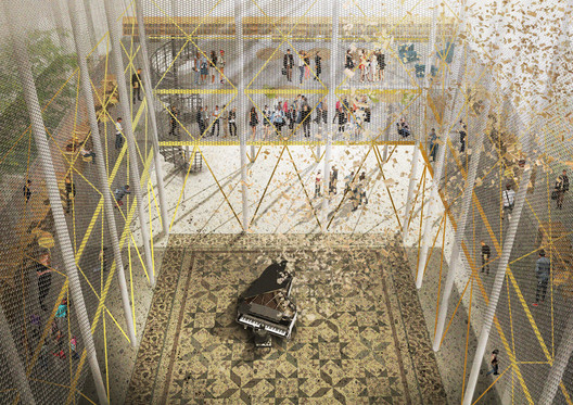 "Second Prize: In-Between / Onea Ioana Alexandra, Nistor Raluca, Hirleata Stefania Daniela, Tirca Radu George; Universitatea de Arhitectura si Urbanism ""Ion Mincu"". Image Courtesy of Bee Breeders"