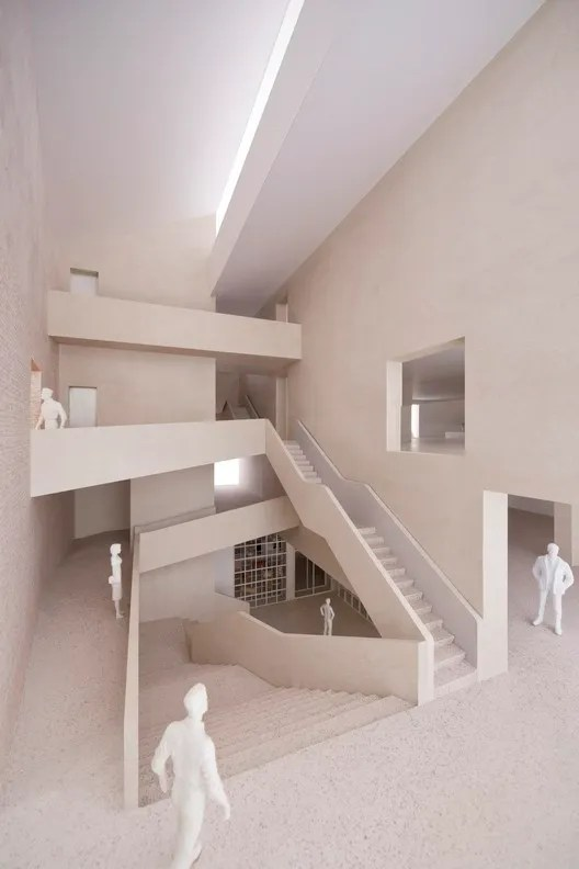 A central staircase will provide access to the galleries and archive. Image Courtesy of Carmody Groarke