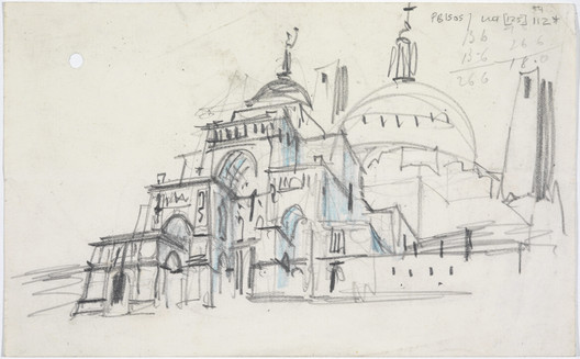 Sketch design for the Roman Catholic cathedral, Liverpool: perspective from south east, by Sir Edwin Lutyens, 1932. Image © RIBA Collections