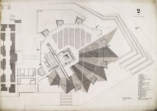Competition design for Roman Catholic cathedral, Liverpool: elevation, by Denys Lasdun, 1959. Image © RIBA Collections