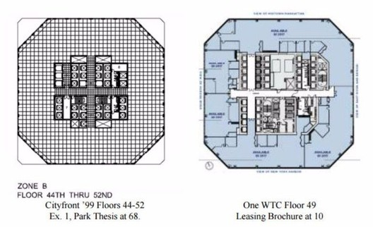 Plans of Park's Cityfront '99 design (left), and One World Trade Center (right). Image via 6sqft