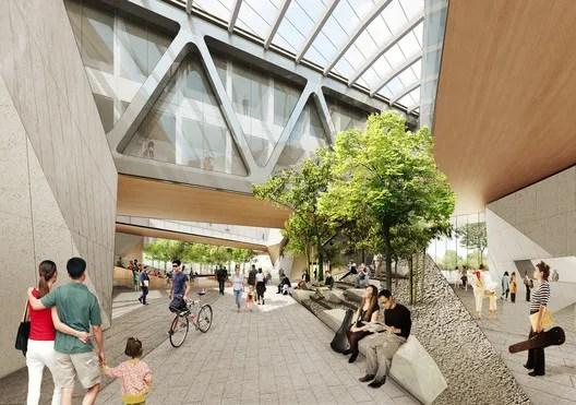 View of interior plaza. Image Courtesy of Diller Scofidio + Renfro