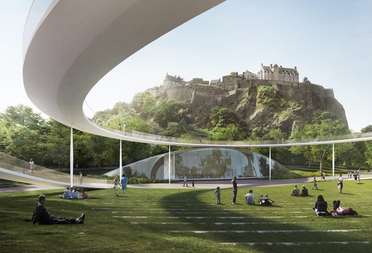 Shortlisted proposal: William Matthews Associates and Sou Fujimoto Architects with BuroHappold Engineering, GROSS.MAX., Purcell and Scott Hobbs Planning. Image © Malcolm Reading Consultants / William Matthews Associates and Sou Fujimoto Architects