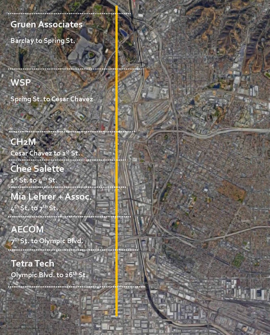 LA River Downtown Design Dialogue (3D) Map. Courtesy of Bureau of Engineering, Mayor's Office of City Services