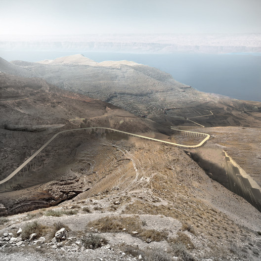 The processional route toward the Dead Sea. Image © Akarachai Padlom, Eleftherios Sergios, Nasser Alamadi