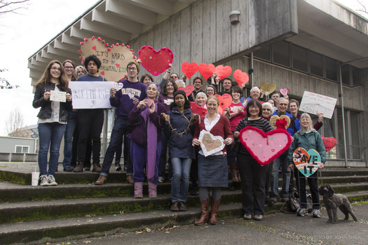 Save the Reactor: Advocates at HeartBomb photo event at the Nuclear Reactor Building, February 2015. Image © John Shea