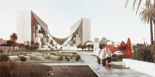 Bjarke Ingels Group (BIG), Middle East Media Headquarters, featuring Calder's La Grande vitesse, 1969. The monumental sculpture this model is based on is actually installed in Calder Plaza in Grand Rapids, Michigan. Image Courtesy of BIG