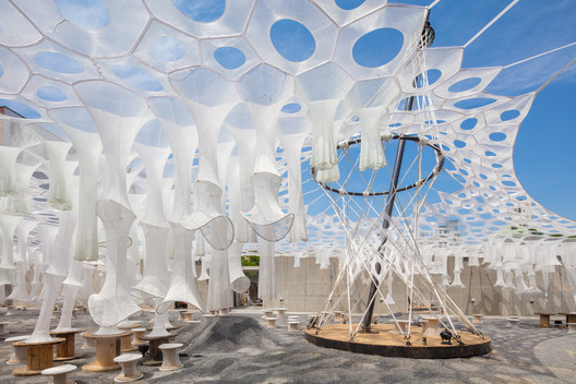 Lumen by Jenny Sabin Studio for The Museum of Modern Art and MoMA PS1's Young Architects Program 2017, on view at MoMA PS1 from June 29 to September 4, 2017. Image courtesy MoMA PS1. Photo by Pablo Enriquez.
