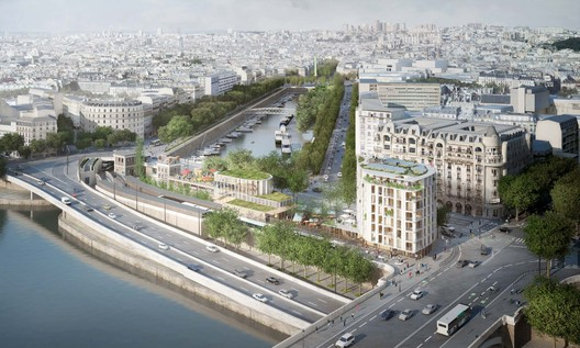 Aerial view from the Pont d'Austerlitz. In the foreground, the housing building and temporary pavilion. Image  SO  IL and laisne roussel (Weiss Images)