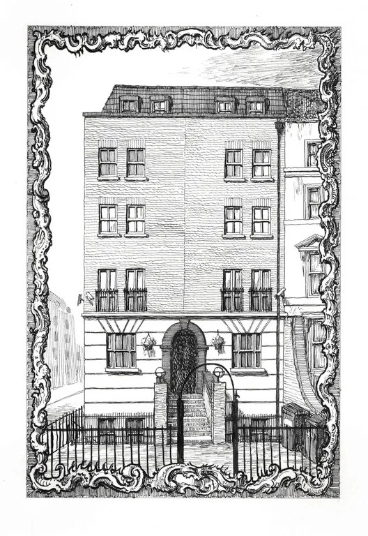 428 Hackney Road, corner of Temple Street, E2 7AP. Ink on Paper, 21 x 14 cm. Copyright Pablo Bronstein. Courtesy Herald St, London and Galeria Franco Noero, Turin. Image Courtesy of RIBA