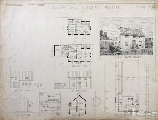 Competition design for the Daily Mail Ideal House. Donald Hanks McMorran, 1927. Copyright and courtesy RIBA Drawings Collection. Image Courtesy of RIBA