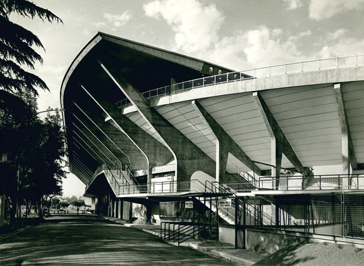 External view of Stadio Flaminio, 1960. Photo: Oscar Savio. Courtesy Pier Luigi Nervi Project Association, Brussels. Image Courtesy of Getty Foundation