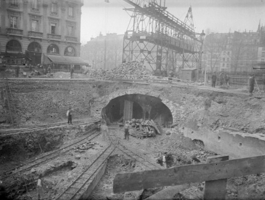 "During the first construction phases, tracks were dug just below street level. Via <a href=""https://commons.wikimedia.org/wiki/File:Paris_Metro_construction_03300288-3.jpg"">National Library of France</a> licensed under Public Domain. Image Courtesy of National Library of France"