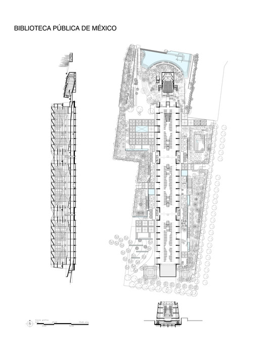 Plan of the Vasconcelos Library. Image Courtesy of Alberto Kalach