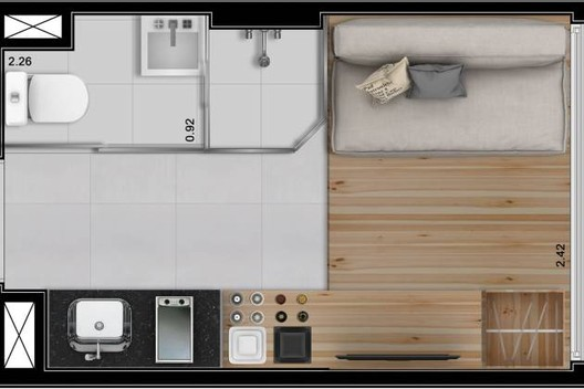 Floor Plan of the 10m² apartment in downtown São Paulo. Image via Raquel Rolnik's blog.