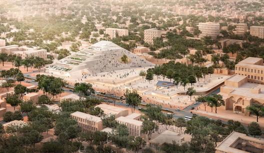 Esquema do Parlamento de Ouagadougou. Imagem Cortesia de Kéré Architecture