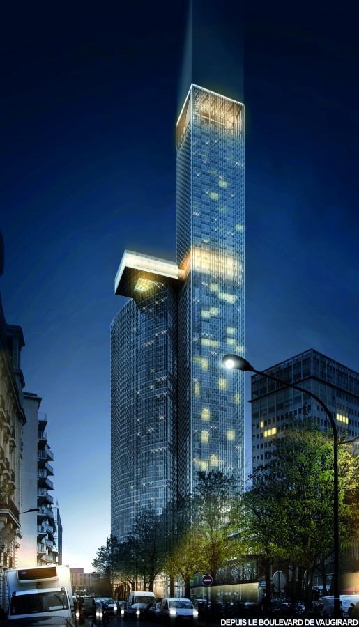 Proposal by Dominique Perrault Architecture. Image via le Pavillon de l'Arsenal