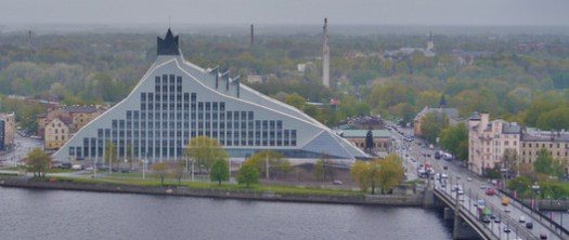 "The Latvian National Library (2014). © <a href=""https://commons.wikimedia.org/wiki/File:Riga_Petrikirche_Blick_vom_Turm_zur_Nationalbibliothek.JPG"">Wikimedia user Zairon</a> licensed under <a href=""https://creativecommons.org/licenses/by-sa/4.0/"">CC BY 4.0</a>. Image Courtesy of Wikimedia User Zairon"