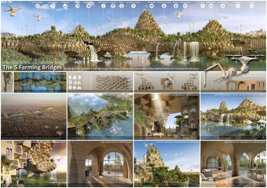 Third Place: The Five Farming Bridges by Vincent Callebaut Architectures of Paris, France