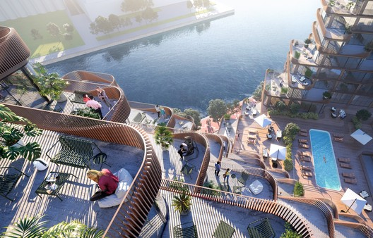 Looking down across the multi-tired decks onto the amenity terrace. Image © 3XN