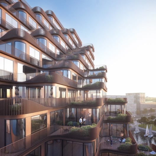 Angled balconies and terraces give all suites lake views. Image © 3XN