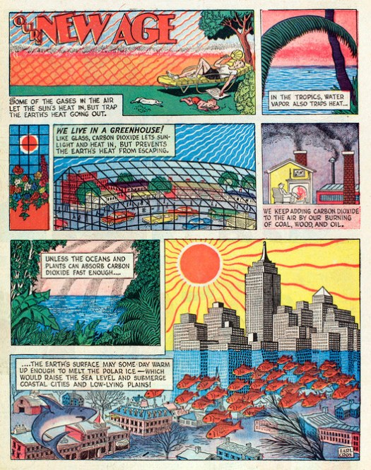 "Athelstan Spilhaus' first ""Our New Age"" comic, from 1958, shows an incredibly prescient understanding of the coming challenges of climate change. Image Courtesy of The Experimental City Documentary"
